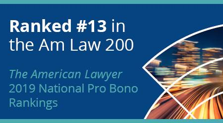 Buckley ranked #13 in the Am Law 200 - The American Lawyer 2019 National Pro Bono Rankings